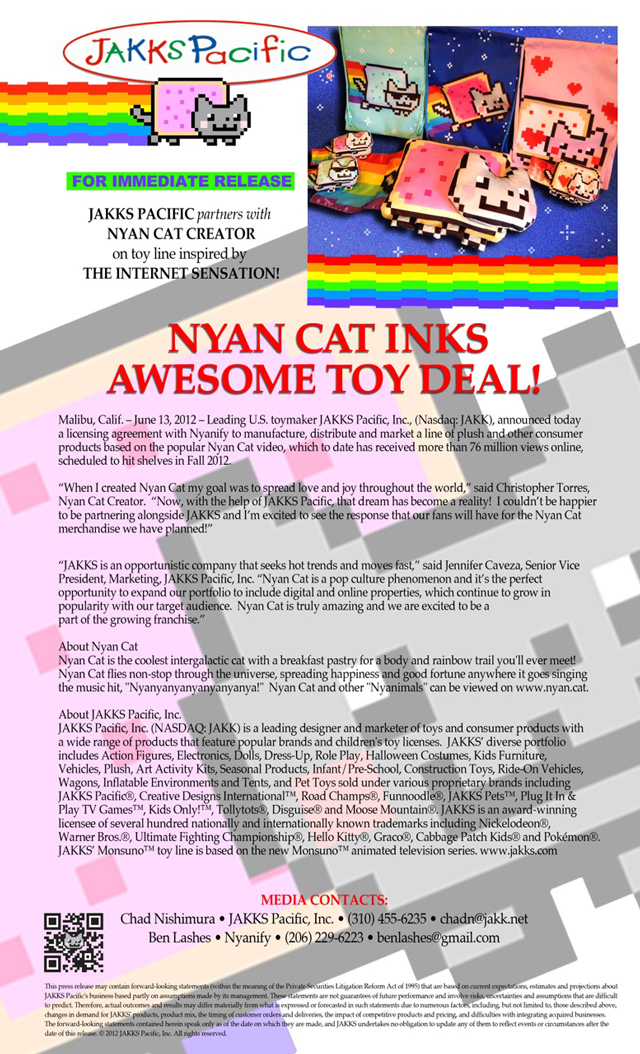 Nyan Cat Press Release
