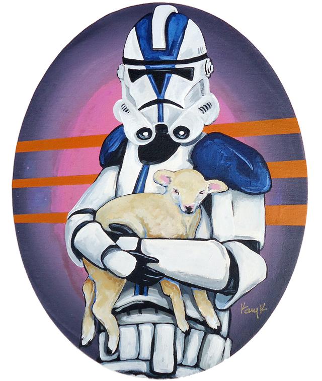 Clone Trooper Holding Lamb by Kelly Kerrigan