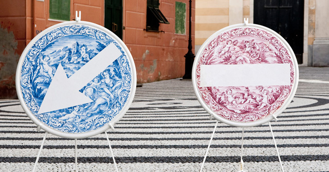 Ceramic Road Signs and Stereoscopic vases