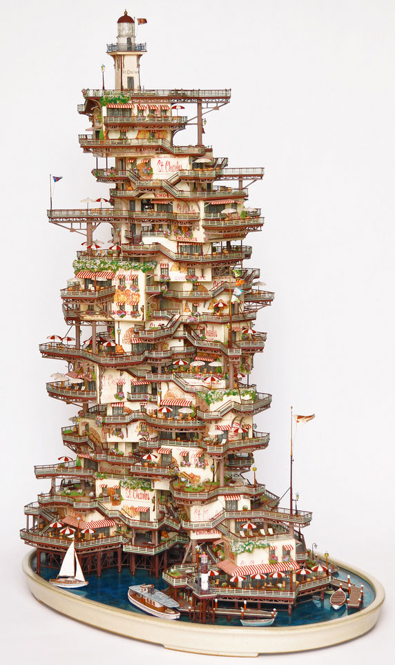 Bonsai building sculptures by Takanori Aiba