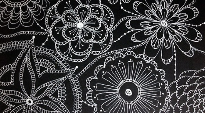 8white pen black paper doodles