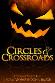 Circles & Crossroads, a glowing jack o'lantern over a textured dark circle
