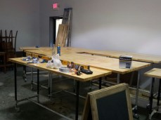 The work benches are almost ready to go.