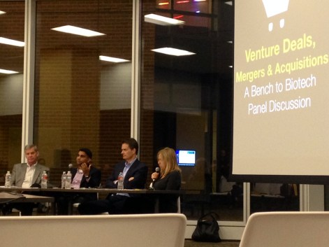 The panelists at Enventure's Venture Deals panel discussion. From left to right: Greg Guidroz, Imran Alibhai, Dan Watkins, Jacqueline Northcut.