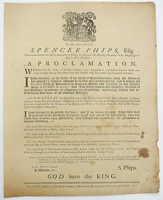 By His Honour Spencer Phips, Esq;...A Proclamation…(Boston, 1755). Massachusetts Historical Society.