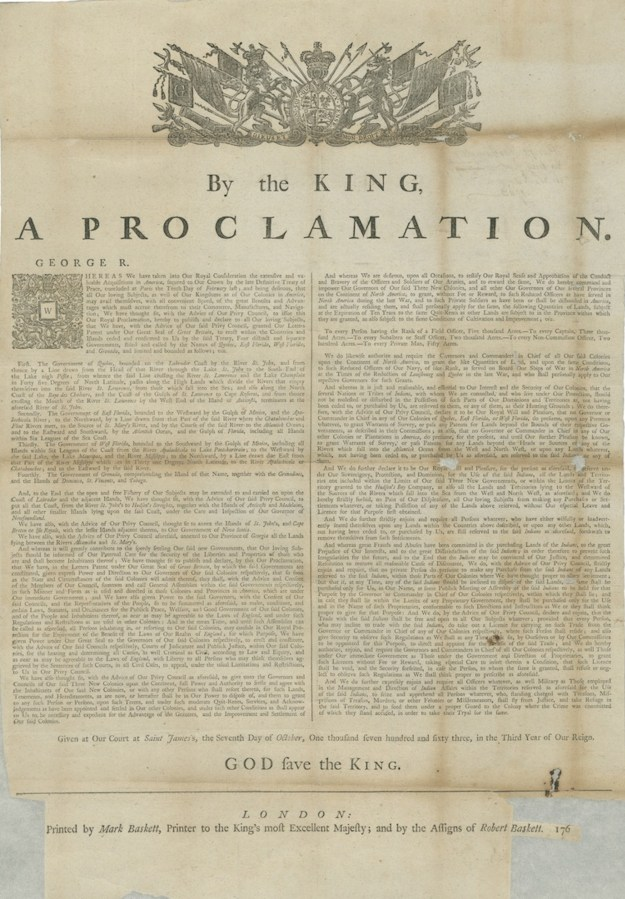 By the King, a Proclamation (London, 1763). Massachusetts Archives