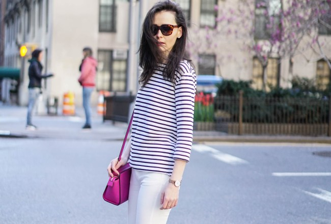 stripe top and white jeans