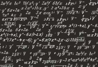 Image of a blackboard completely filled with mathematical equations.
