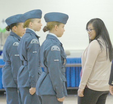 Former cadet Jaclyn Edwards performs her duties as reviewing officer during the 553 Sherlock Squadron's annual review on June 1 at Davidson Town Hall.
