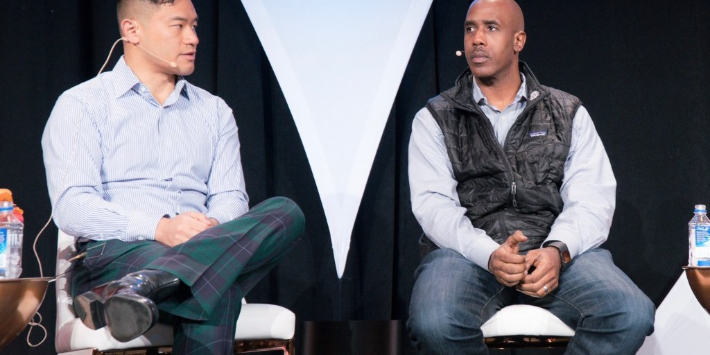 Jeremy, on the left, rocking out in Bonobos plaid pants | TechCrunch