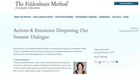 Actions Emotions  Deepening Our Somatic Dialogue   The Feldenkrais Method of Somatic Education