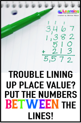 Do your students struggle with lining up place value?  Have them turn their notebooks and use the vertical lines as columns.