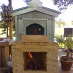 """Patened pizza oven design w/ sand stone stone veneer and galvanized outdoor finishes... One of Leasure's firsts."""