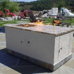"Rectangle fire pit, w/ 12"" ring, featuring Fire Crystals.com in it."