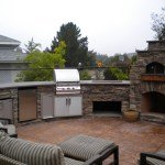 Custom Arched Outdoor Kitchen, w/ Fire Magic appliances. Along with LC Oven Designed Outdoor Pizza Oven / Fire Place.