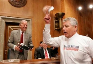 Chairman of the Senate Foreign Relations Committee and Democratic presidential hopeful Sen. Joe Biden, D-Del., lefts, laughs as Sen. Chuck Hagel, R-Neb., right, dresses up as Sen. Biden for Halloween, Wednesday, Oct. 31, 2007 on Capitol Hill.  (AP Photos/Susan Walsh)