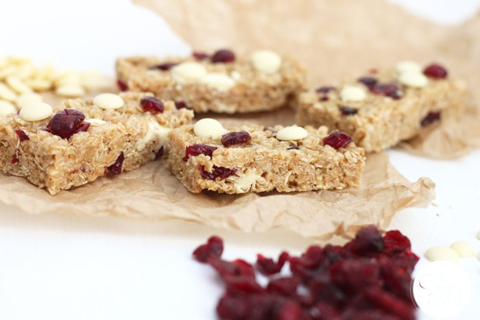 No Bake Cranberry & White Chocolate Cereal Bars