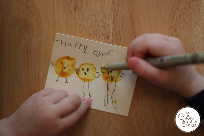Homemade Easter Cards - drawing little chicks