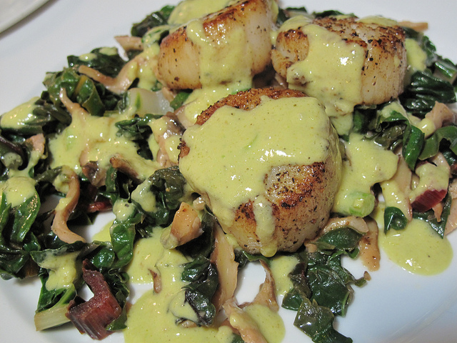 scallops with warm chard shiitake salad