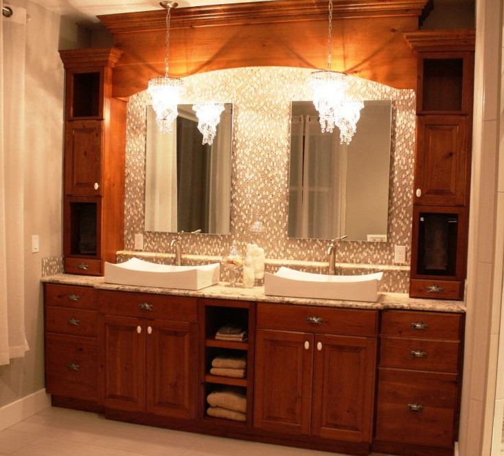 Cherry Wood Bathroom Cabinets With Mirror Surrounds. Custom Designed, Built  And Installed For Customer