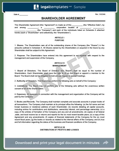 Shareholder Agreement - Create a Free Shareholder Agreement Form