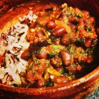 Wild rice blend with spinach, garlic and tomato black beans recipe