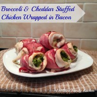 Broccoli & Cheddar Stuffed Chicken Wrapped in Bacon