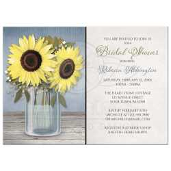 Cozy 2243 Rectangle Sunflower Blue Mason Jar Rustic Bridal Shower Invitations Rustic Med Bridal Shower Invitations Rustic Vintage Bridal Shower Invitations