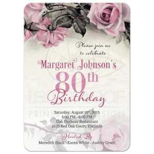 Supple Spanish 80th Birthday Invitations Grey S Ivory Rose Party Invitation Front Vintage