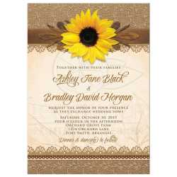 Enchanting Wood Sunflower Wedding Invitation Front Photo Wedding Invitations Templates Photo Wedding Invitations Costco 29233 Rectangle Rustic Burlap Lace