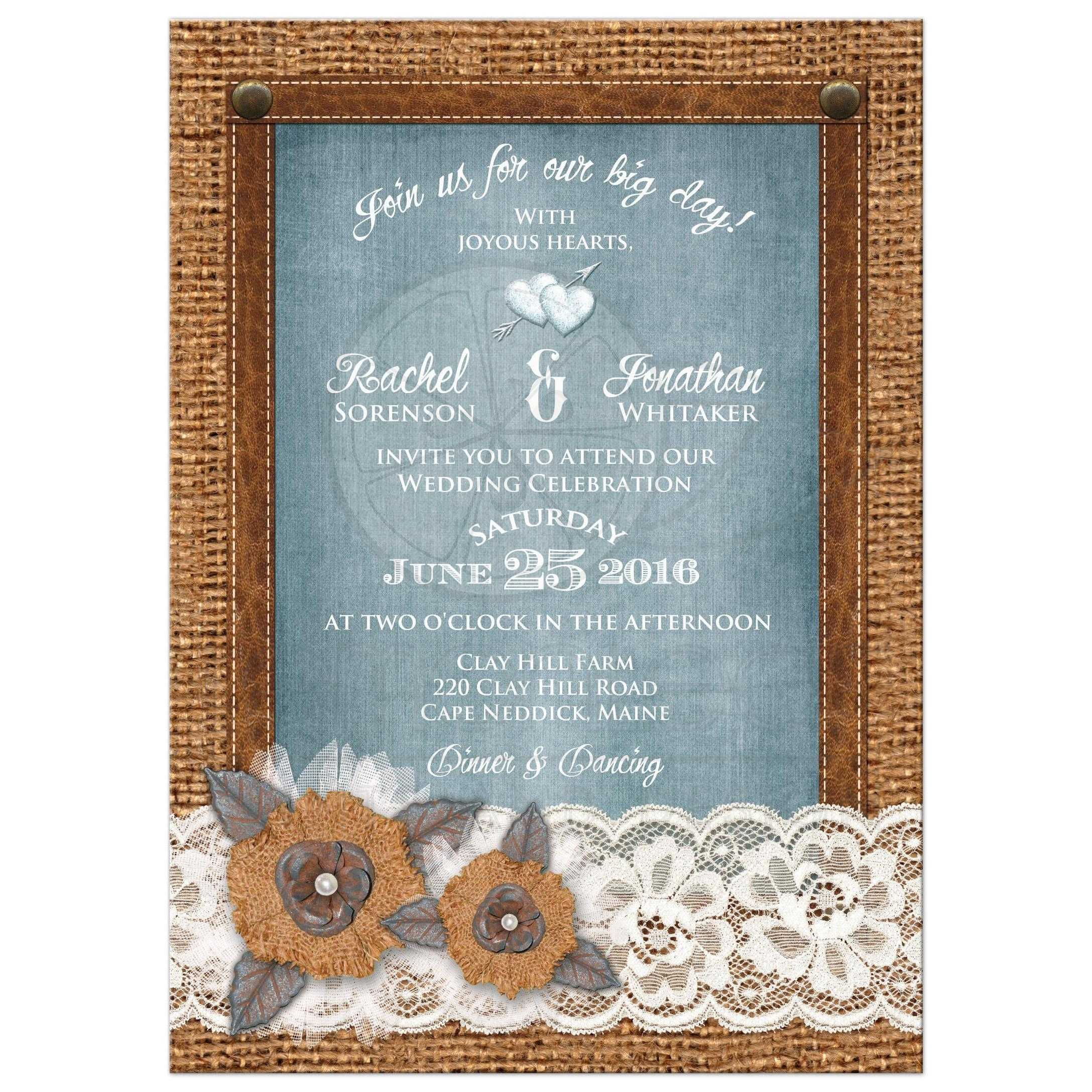 rustic country wedding invitations burlap wedding invitations great rustic country wedding invitation with burlap lace leather denim