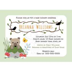 Sophisticated Bear Cub Peeping Out From Behind A Rock Woodland Baby Shower Invitations Amazon Woodland Baby Shower Invitations Free Front Woodland Baby Shower Invitation