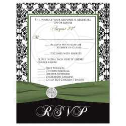 Fashionable Envelope Damask Greenribbon Cross Buckle Christian Wedding Rsvp Card Damask Printed Clover Small Rsvp Card Size Rsvp Card Size Black Christian Wedding Rsvp Card