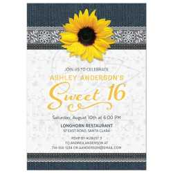 Snazzy Denim Sunflower Flower Country Invitation Sunflower Invitation Denim Lace Country Style 16 Invitations Walmart 16 Invitations Purple