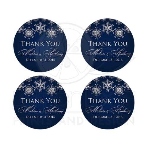 Captivating Business Round Personalized Midnight Navy Royal Blue Wedding Favor Thankyou Stickers Round Wedding Favor Sticker Silver Faux Glitter Snowflakes On Zzlethank You Stickers Thank You Stickers