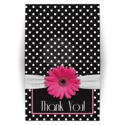 Picturesque Polka Pink Gerbera Daisy Fed Thankyou Pink Daisy Polka Dot Thank You Card Pink Black Bridal Shower Thank You Cards Sayings Bridal Shower Thank You Cards Amazon Retro Black