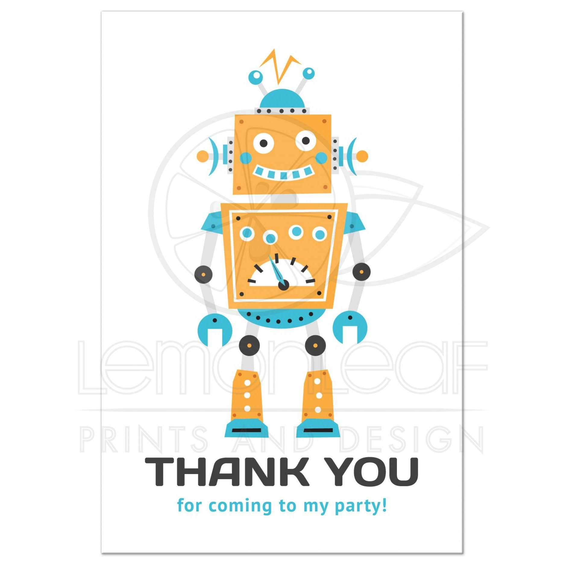 Sophisticated Kids Parties Robot Med Thank You Coming To My Party Postcard Birthday Thank You Cards Printable Birthday Thank You Cards Online Robot Party Thank You Card cards Birthday Thank You Cards