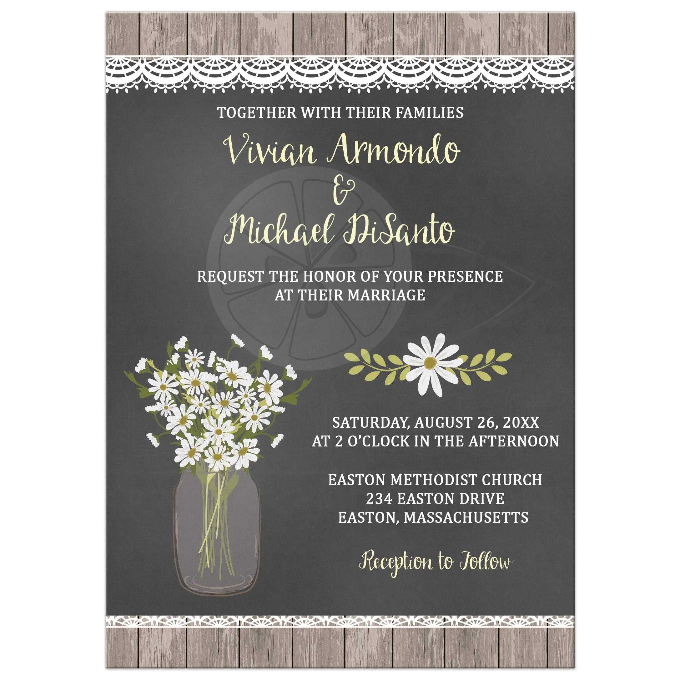 Mesmerizing Rsvp Rustic Daisy Mason Jar Chalkboard Wedding Invitation Rustic Weddinginvite Rustic Daisy Mason Jar Chalkboard Wedding Invitation Rusticweddinginvitation Rustic Wedding Invitations wedding invitation Rustic Wedding Invitations