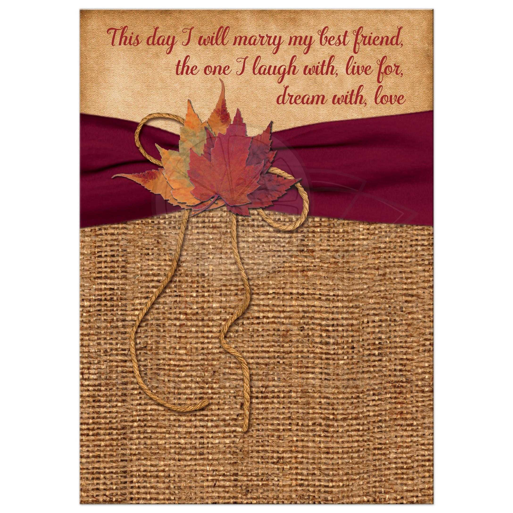 rustic country wedding invitations burlap wedding invitations burlap wedding invitations with a wine ribbon a golden twine bow and autumn leaves