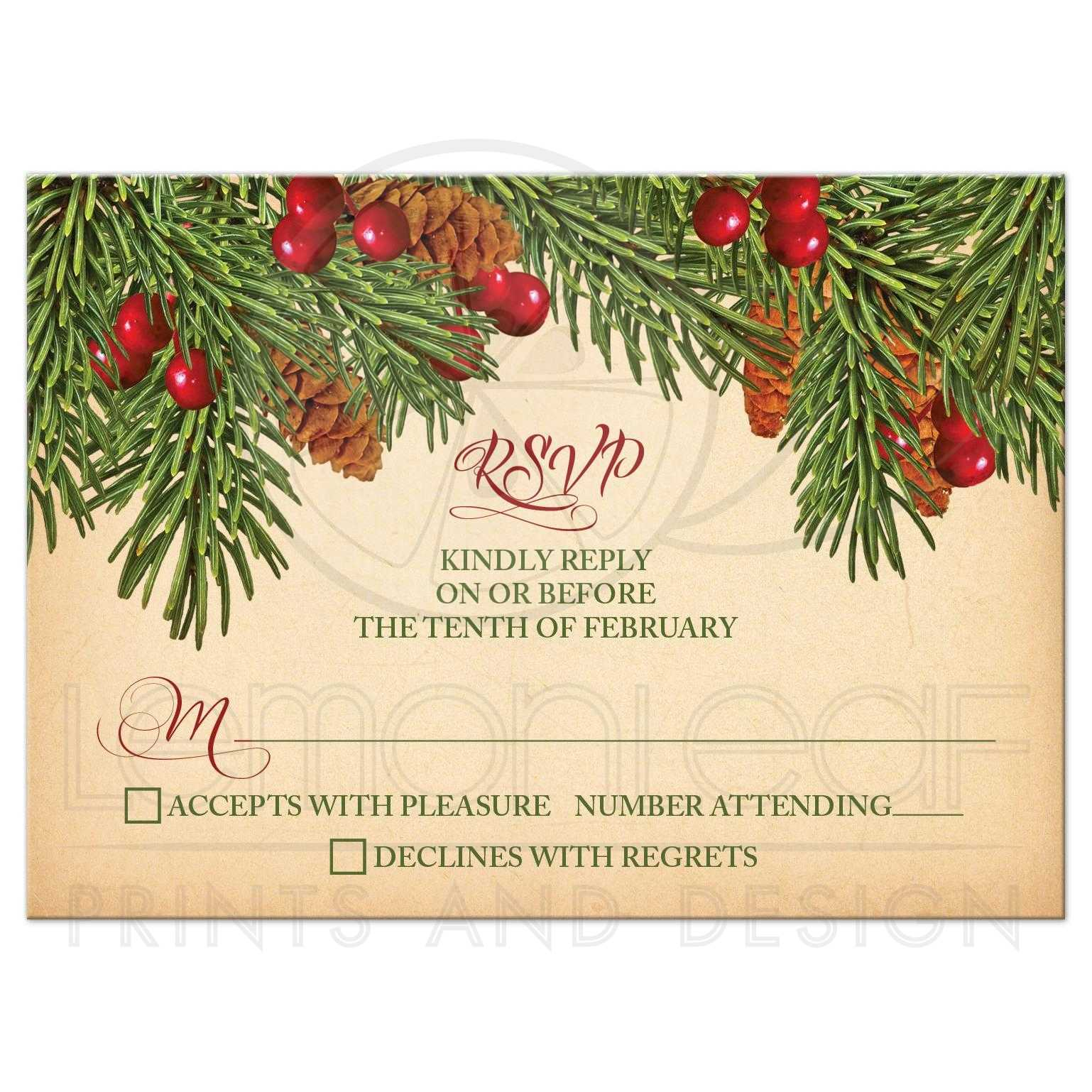 Relaxing Vintage Evergreen Pine Cones Holly Berries Wedding Rsvp Card Front Wedding Rsvp Card Vintage Evergreen Holly wedding Wedding Rsvp Cards