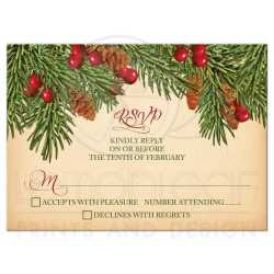 Relaxing Vintage Evergreen Pine Cones Holly Berries Wedding Rsvp Card Front Wedding Rsvp Card Vintage Evergreen Holly