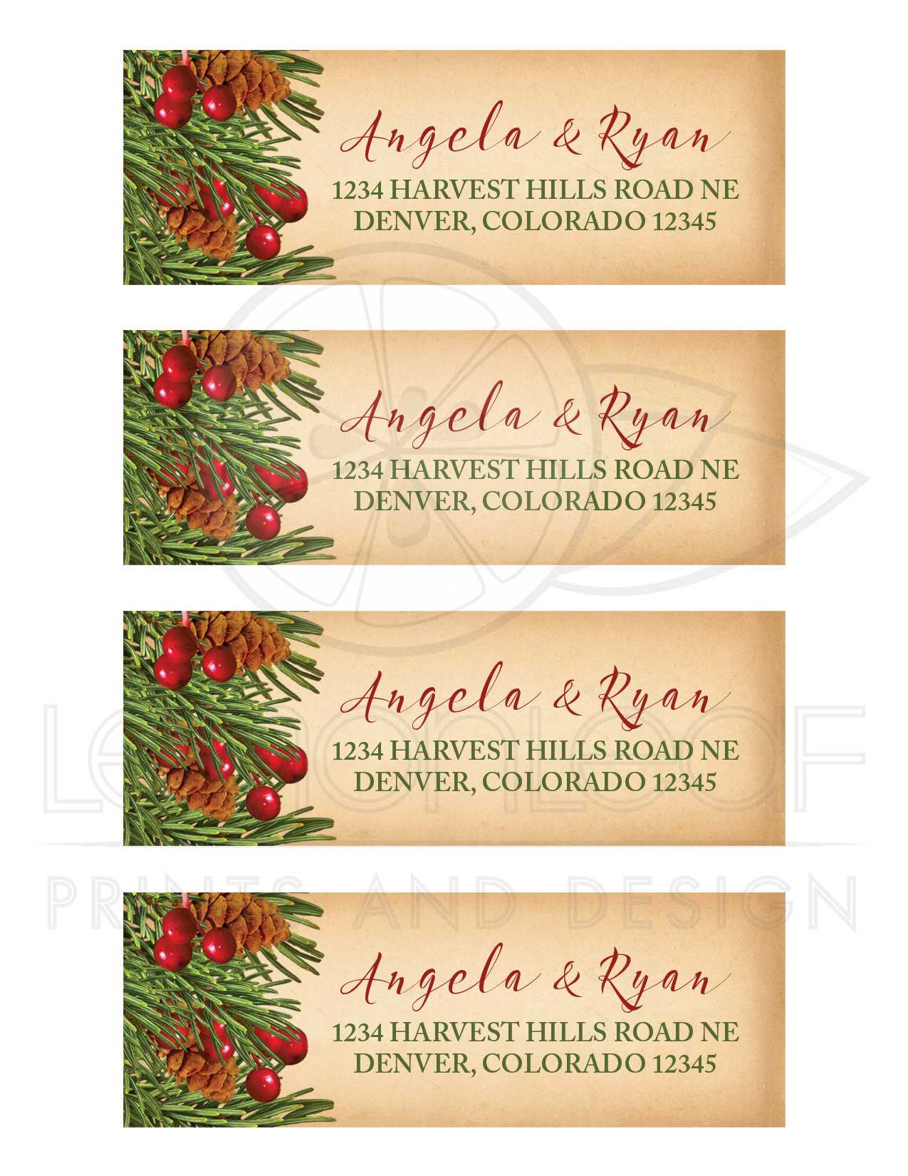 calligraphy address labels for wedding invitations wedding address labels christmas address labels wedding traditional vintage evergreen holly berries