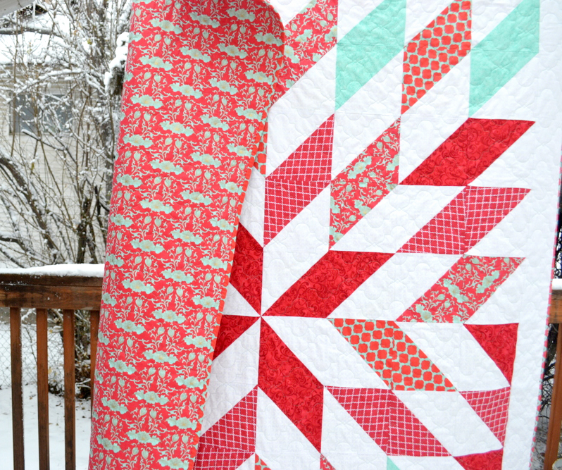 red and turquoise quilt // lemon squeezy home