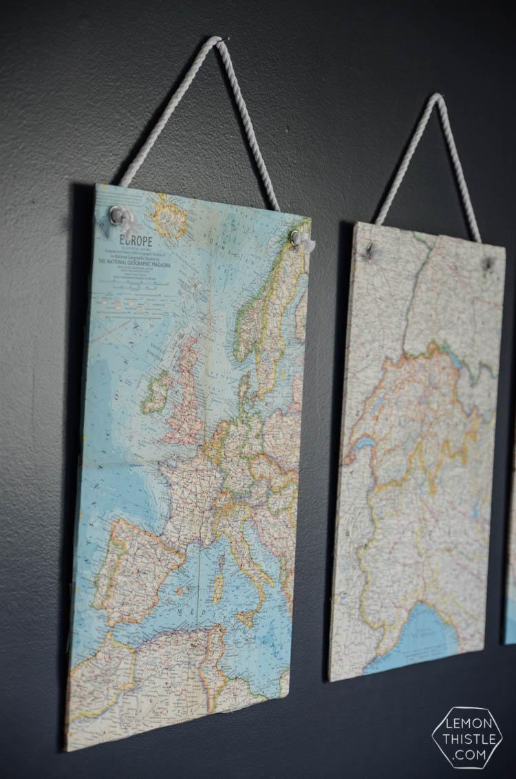 DIY Vintage Maps Wall Hangings