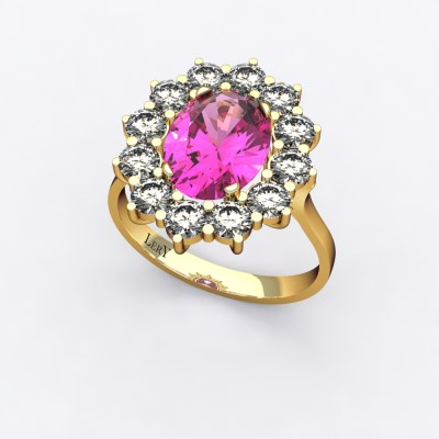 bague-entourage-marguerite-or-jaune-diamants-saphir-rose-0