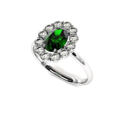 bague-entourage-marguerite-diamants-or-blanc-emeraude-ovale-