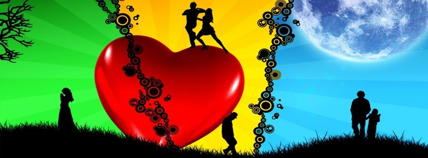 Amour au dessus d 39 un gros coeur photo de couverture facebook - Un gros coeur d amour ...