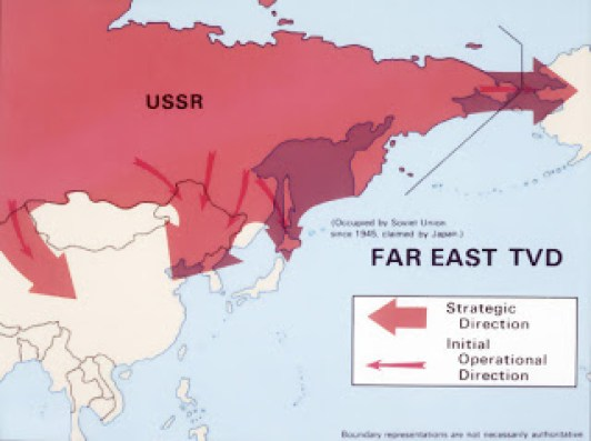 A map depicting likely Soviet strategic and operational routes in the Western theater of military operations.