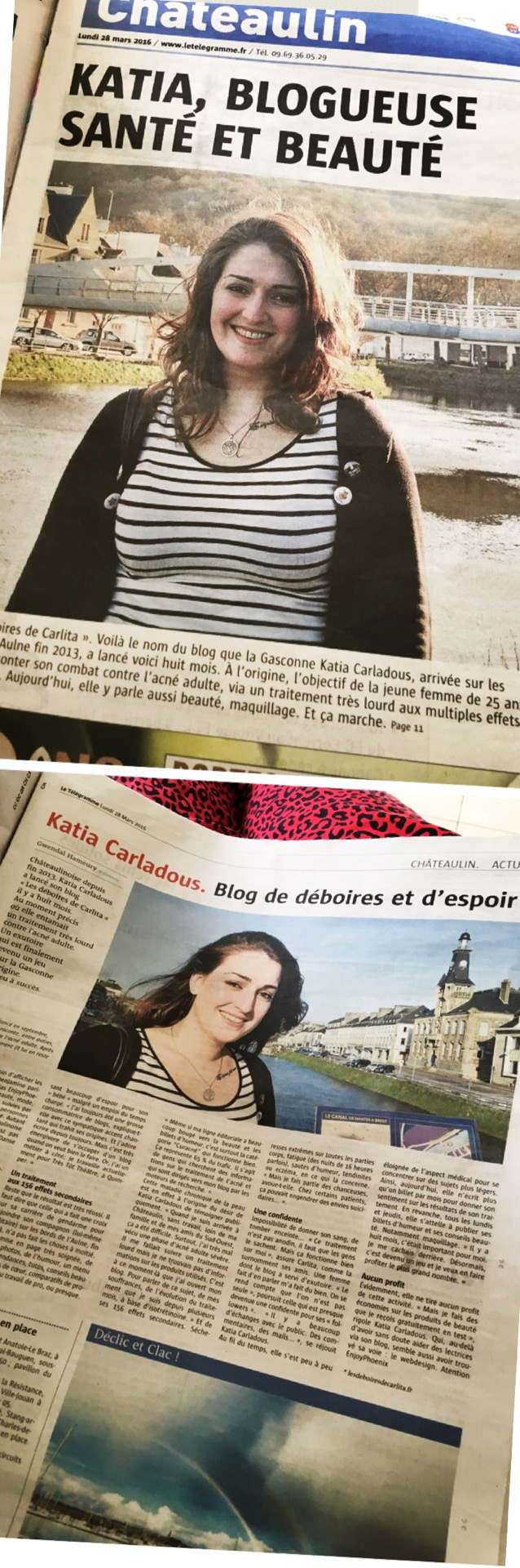 on parle du blog article journal le télégramme du blog les déboires de carlita