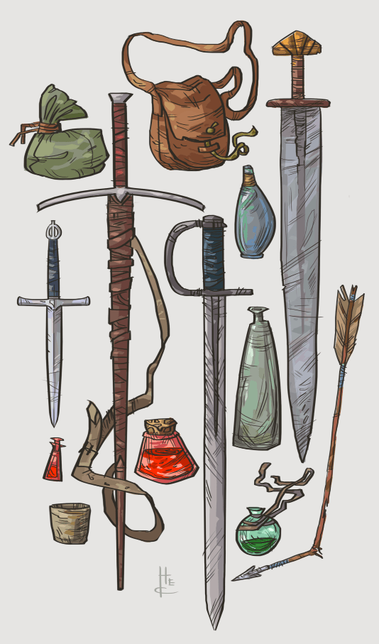 Item sketches - Art by Nafah